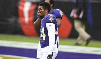 Baltimore Ravens cornerback Marlon Humphrey (44) looks on before an NFL football game against the Pittsburgh Steelers, Sunday, Nov. 1, 2020, in Baltimore. (AP Photo/Terrance Williams)  **FILE**