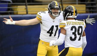 Pittsburgh Steelers linebacker Robert Spillane, left, celebrates with free safety Minkah Fitzpatrick after after scoring on an interception of a pass from Baltimore Ravens quarterback Lamar Jackson, not visible, during the first half of an NFL football game, Sunday, Nov. 1, 2020, in Baltimore. (AP Photo/Nick Wass)