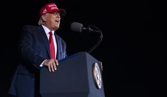President Donald Trump speaks during a campaign rally at Miami-Opa-locka Executive Airport, Monday, Nov. 2, 2020, in Opa-locka, Fla. (AP Photo/Evan Vucci)