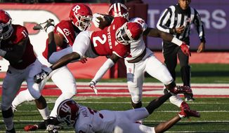 Rutgers wide receiver Aron Cruickshank (2) gains yards in the first quarter of an NCAA college football game against Indiana, Saturday, Oct. 31, 2020, in Piscataway, N.J. (AP Photo/Corey Sipkin)