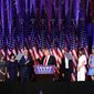 That was then: President-elect Trump acknowledges he won, flanked by running mate Mike Pence and surrounded by family on Nov. 9, 2016. (Associated Press)