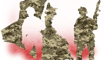 Illustration on withdrawal from Iraq by Alexander Hunter/The Washington Times