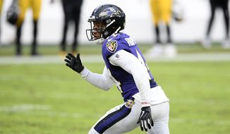 Baltimore Ravens cornerback Marlon Humphrey (44) in action during the second half of an NFL football game against the Pittsburgh Steelers, Sunday, Nov. 1, 2020, in Baltimore. The Steelers won 28-24. (AP Photo/Nick Wass)