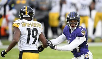 Baltimore Ravens cornerback Marlon Humphrey (44) in action during the second half of an NFL football game against the Pittsburgh Steelers wide receiver JuJu Smith-Schuster (19), Sunday, Nov. 1, 2020, in Baltimore. The Steelers won 28-24. (AP Photo/Nick Wass) **FILE**