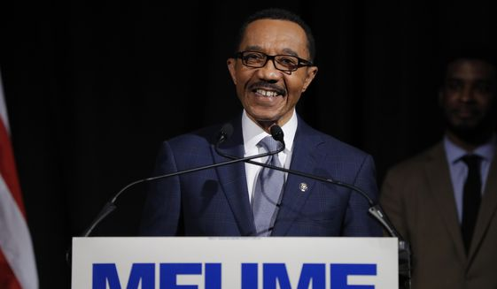 In this April 28, 2020 file photo, Democrat Kweisi Mfume reacts while speaking to reporters during an election night news conference after he won the 7th Congressional District special election, in Baltimore. (AP Photo/Julio Cortez, File). **FILE**