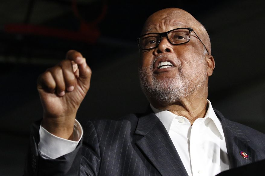 In this March 8, 2020, photo, U.S. Rep. Bennie Thompson, D-Miss., expresses the need for a new president, at a rally in Tougaloo, Miss., for Democratic presidential candidate and former Vice President Joe Biden. (AP Photo/Rogelio V. Solis) **FILE**
