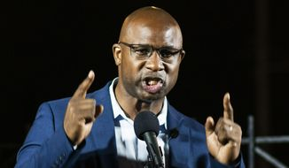 This photo from Tuesday June 23, 2020, shows Democratic candidate Jamaal Bowman as he speaks during his primary-night party in New York. (AP Photo/Eduardo Munoz Alvarez, File) ** FILE **