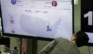 A screen shows a news program website on the U.S. elections as a traders of a foreign exchange dealing company looks on Wednesday, Nov. 4, 2020, in Tokyo. (AP Photo/Eugene Hoshiko)
