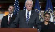 In this Monday, March 9, 2020 file photo, House Majority Leader Steny Hoyer, D-Md., center, speaks during a news conference on Capitol Hill in Washington. (AP Photo/J. Scott Applewhite, File)  **FILE**