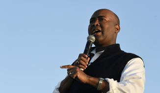 In this Oct. 17, 2020, file photo, Democratic U.S. Senate candidate Jaime Harrison speaks at a campaign rally in North Charleston, S.C. (AP Photo/Meg Kinnard, File)