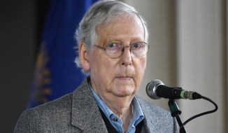 Senate Majority Leader Mitch McConnell, R-Ky., speaks to supporters during a rally in Lawrenceburg, Ky., Wednesday, Oct. 28, 2020. (AP Photo/Timothy D. Easley)