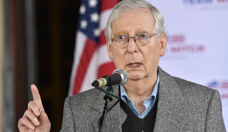 FILE - In this Oct. 28, 2020, file photo, Senate Majority Leader Mitch McConnell, R-Ky., speaks to supporters in Lawrenceburg, Ky. (AP Photo/Timothy D. Easley, File)