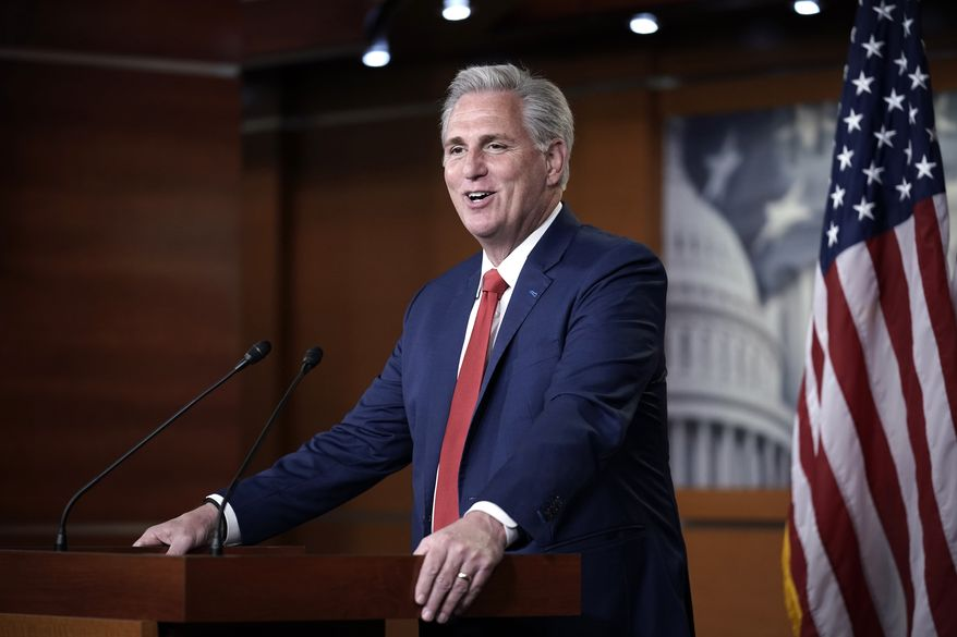 House Minority Leader Kevin McCarthy, R-Calif., gives his assessment of the GOP's performance in the election as he speaks with reporters at the Capitol in Washington, Wednesday, Nov. 4, 2020. (AP Photo/J. Scott Applewhite)