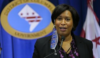 District of Columbia Mayor Muriel Bowser speaks during a news conference in Washington, Wednesday, Nov. 4, 2020. (AP Photo/Susan Walsh) **FILE**