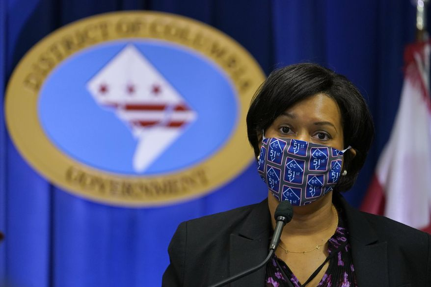 In this file photo, District of Columbia Mayor Muriel Bowser speaks during a news conference in Washington, Wednesday, Nov. 4, 2020. (AP Photo/Susan Walsh) **FILE**
