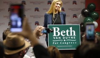 In this file photo, Republican Beth Van Duyne who ran for U.S. House to represent Texas' 24th Congressional District, delivers her acceptance speech to supporters attending the Tarrant County GOP election watch party at the Hurst Conference Center in Hurst, Texas, Tuesday, Nov. 3, 2020. Van Duyne ran against Democrat Candace Valenzuela, who conceded the race to Ms. Van Duyne on Tuesday, Nov. 10. (Tom Fox/The Dallas Morning News via AP)  **FILE**