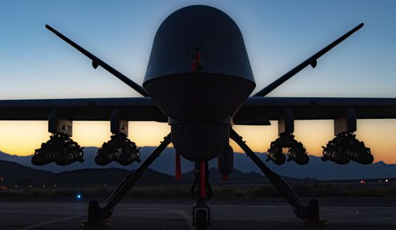 An MQ-9A Reaper is shown in this undated file photo. The U.S. Air Force will operate a squadron of Reaper unmanned aerial vehicles out of a Romanian military airbase to conduct intelligence and reconnaissance missions in support of NATO operations in the region. (U.S. Air Force photograph)  ** FILE **