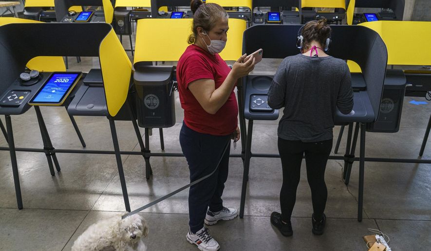 First-time voter Berlyn Gonzalez votes as her mother, Claudia Gonzalez, holds the leash to her dog Nenengue, in Los Angeles on Tuesday, Nov. 3, 2020. (AP Photo/Damian Dovarganes)