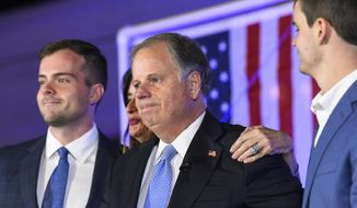 Sen. Doug Jones, R-Alabama, becomes emotional near the end of his concession speech Tuesday, Nov. 3, 2020, during his election night watch party in Birmingham, Ala. Jones lost to Republican Tommy Tuberville. (AP Photo/Julie Bennett)