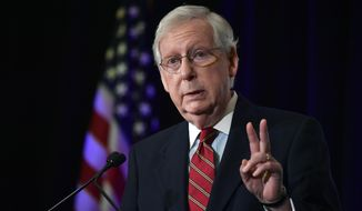 Senate Majority Leader Mitch McConnell, R-Ky., speaks to reporters during a press conference in Louisville, Ky., Wednesday, Nov. 4, 2020. McConnell  secured a seventh term in Kentucky, fending off Democrat Amy McGrath, a former fighter pilot in a costly campaign. (AP Photo/Timothy D. Easley)