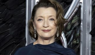 """FILE - Actress Lesley Manville appears at the premiere of the film """"Maleficent Mistress of Evil"""" in London on Oct. 9, 2019. Manville currently stars in the film """"Let Him Go"""" with Kevin Costner and Diane Lane. (Photo by Grant Pollard/Invision/AP, File)"""