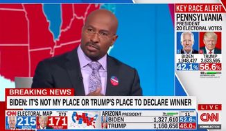 """CNN host Van Jones said Tuesday night that while a Joe Biden election win may still be possible, it """"hurts"""" that the vote is this close and not a total """"repudiation"""" of President Trump. (Screenshot via CNN)"""