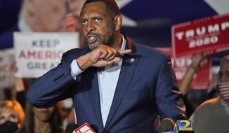Georgia State Rep. Vernon Jones, gestures during a news conference at Georgia Republican Party headquarters Thursday, Nov. 5, 2020 in Atlanta. (AP Photo/John Bazemore)
