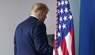 President Donald Trump walks away after speaking at the White House, Thursday, Nov. 5, 2020, in Washington. (AP Photo/Evan Vucci)