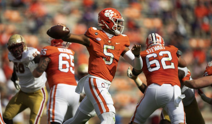 Clemson quarterback D.J. Uiagalelei (5) passes the ball during the first half of an NCAA college football game against Clemson Saturday, Oct. 31, 2020, in Clemson, S.C. (Josh Morgan/Pool Photo via AP) **FILE**