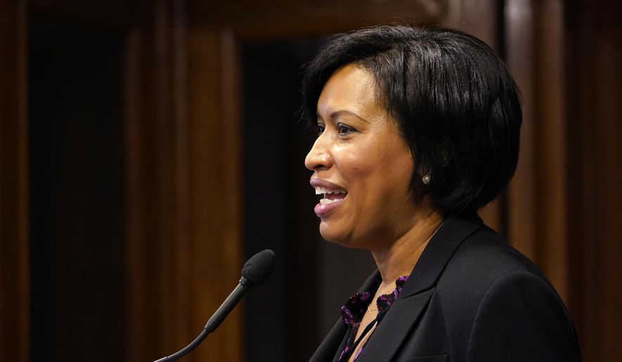 District of Columbia Mayor Muriel Bowser speaks during a news conference in Washington, Wednesday, Nov. 4, 2020. (AP Photo/Susan Walsh) ** FILE **