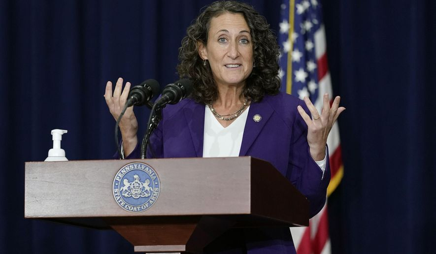 Pennsylvania Secretary of State Kathy Boockvar speaks during a news conference, Thursday, Nov. 5, 2020, in Harrisburg, Pa., about counting votes from Tuesday's election. (AP Photo/Julio Cortez) **FILE**
