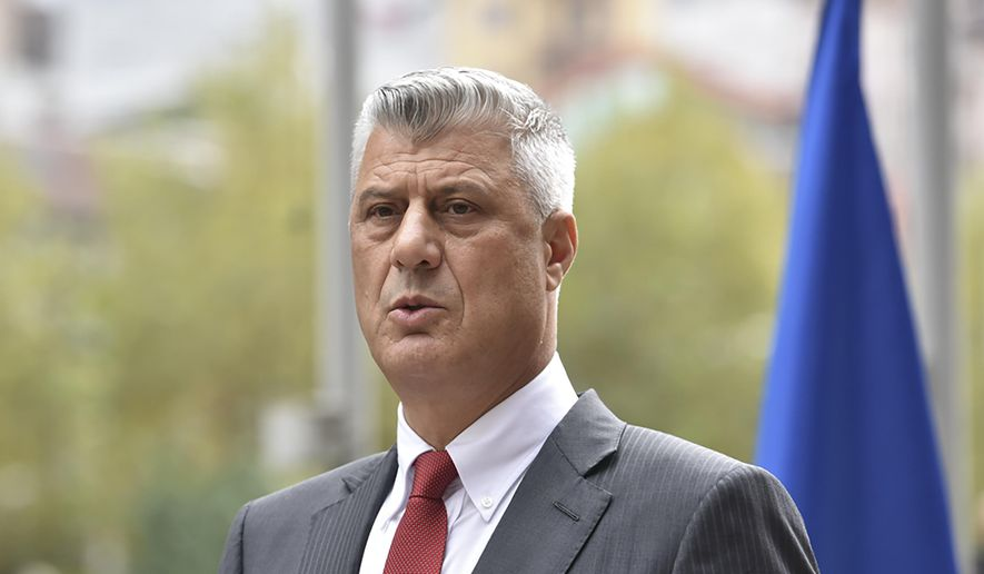 """Kosovo president Hashim Thaci addresses the nation as he announced his resignation to face war crimes charges in Kosovo capital Pristina on Thursday, Nov. 5, 2020. Thaci, a guerrilla leader during Kosovo's war for independence, has resigned in order to face charges for war crimes and crimes against humanity issued by at a special court based in The Hague, Netherlands. Thaci announced his resignation at a news conference on Thursday. He said he was taking the step """"to protect the integrity of the presidency of Kosovo.""""  (AP Photo/Visar Kryeziu)"""