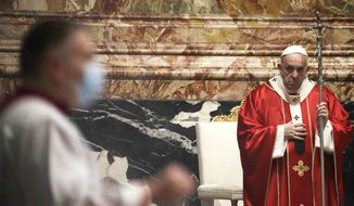 Pope Francis celebrates a mass for deceased prelates in St. Peter's Basilica, at the Vatican, Thursday, Nov. 5, 2020. (AP Photo/Gregorio Borgia, Pool)