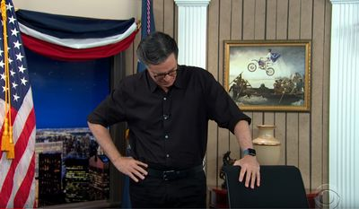 """Stephen Colbert breaks down while talking about President Trump and the 2020 election, Nov. 5, 2020. (Image: YouTube, """"The Late Show with Stephen Colbert"""" video screenshot)"""