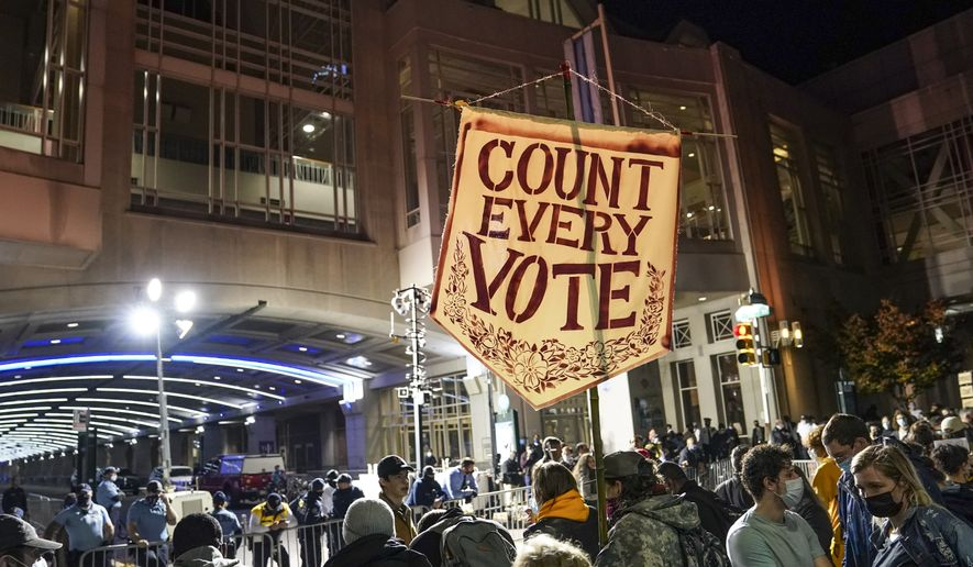 """Demonstrators demanding for officials to """"COUNT EVERY VOTE"""" rally outside the Pennsylvania Convention Center where votes are being counted, Thursday, Nov. 5, 2020, in Philadelphia. (AP Photo/John Minchillo)"""