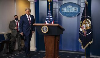 President Donald Trump arrives to deliver a statement on the election in the briefing room of the White House, Thursday, Nov. 5, 2020, in Washington. (AP Photo/Evan Vucci)