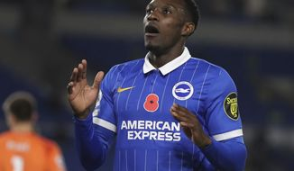 Brighton's Danny Welbeck reacts during the English Premier League soccer match between Brighton and Burnley at the Falmer stadium in Brighton, England, Friday, Nov. 6, 2020. (Cath Ivill/Pool via AP)