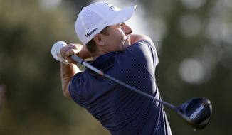 Carlos Ortiz tees off on the 10th hole during the second round of the Houston Open golf tournament Friday, Nov, 6, 2020, in Houston. (AP Photo/Michael Wyke)