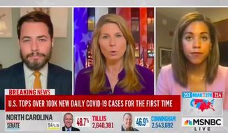 """MSNBC host Nicolle Wallace said Thursday that the media """"completely missed"""" the mark on understanding the plight of working-class Americans during the coronavirus pandemic. (Screenshot via MSNBC)"""