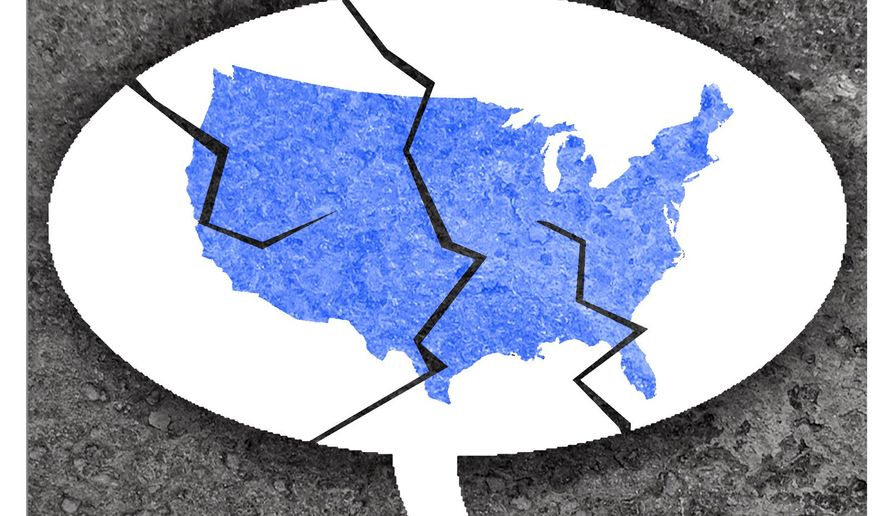 Illustration on media projections of a Democratic sweep by Alexander Hunter/The Washington times
