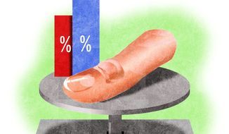 Illustration on skewed polling by Alexander Hunter/The Washington Times