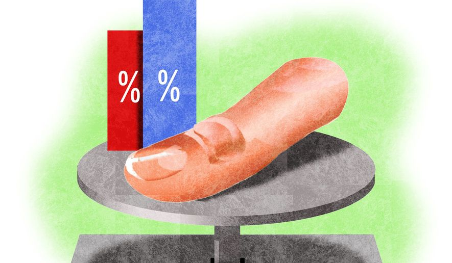 Illustration on skewed polling by Alexander Hunter/The Washington Times