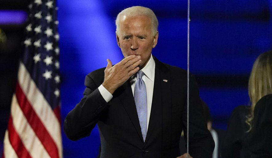 President-elect Joe Biden speaks blows a kiss to supporters Saturday, Nov. 7, 2020, in Wilmington, Del. (AP Photo/Andrew Harnik)
