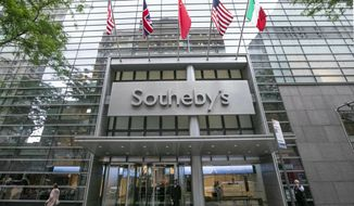 FILE- This June 17, 2019 file photo shows the front entrance of Sotheby's auction house in New York. Sotheby's helped an art collector dodge millions of dollars in New York sales taxes, the New York attorney general said in a lawsuit filed Friday, Nov. 6, 2020. The lawsuit accused the prominent auction house of accepting bogus documentation to spare a top client a tax bill. (AP Photo/Richard Drew, File)