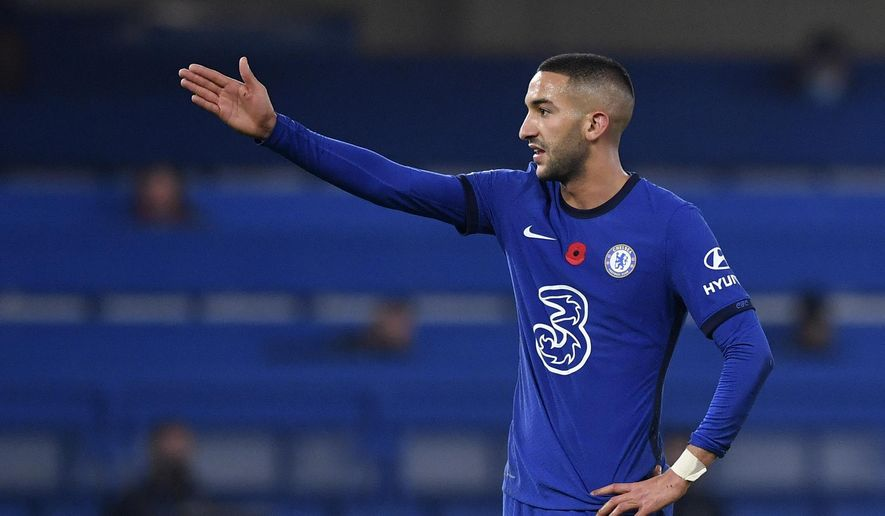 Chelsea's Hakim Ziyech reacts during the English Premier League soccer match between Chelsea and Sheffield United at Stamford Bridge Stadium in London, Saturday, Nov. 7, 2020. (Ben Stansall/Pool via AP)