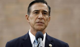 FILE - In this Sept. 26, 2019, file photo, former Republican congressman Darrell Issa speaks during a news conference in El Cajon, Calif.  Issa declared victory in his race to return to Congress, saying there are not enough votes left to count for Democratic opponent Ammar Campa-Najjar to overcome Issa's lead that has grown steadily since Election Day. Issa gave up his seat two years ago and then ran this year in the neighboring 50th District anchored in San Diego County. (AP Photo/Gregory Bull, File)