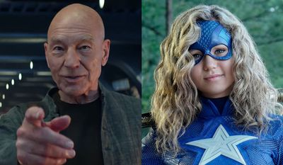 """Patrick Stewart as Jean Luc Picard in """"Star Trek: Picard - Season One"""" and Brec Bassinger as Stargirl in """"Stargirl: The Complete First Season,"""" now available in the Blu-ray format."""
