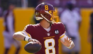Washington Football Team quarterback Kyle Allen (8) passing the ball in the first half of an NFL football game against the New York Giants, Sunday, Nov. 8, 2020, in Landover, Md. (AP Photo/Patrick Semansky)