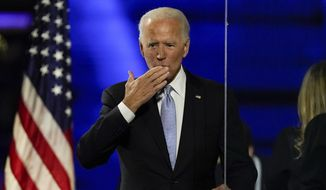 President-elect Joe Biden speaks blows a kiss to supporters Saturday, Nov. 7, 2020, in Wilmington, Del. (AP Photo/Andrew Harnik)