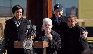 """We are all excited to welcome the resident who will support D.C. values, including statehood for Washington, D.C.,"" Mayor Muriel Bowser (left) said Monday. D.C. officials said Monday they expect an easier working relationship with presumptive President-elect Joseph R. Biden (second from right) than with President Trump. (Associated Press)"